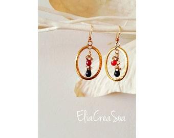 Earrings glass drops, earrings rings, gold earrings