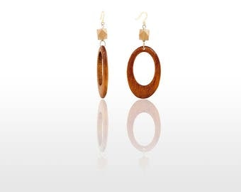 Hypoallergenic Silicone Wood Oval Earrings