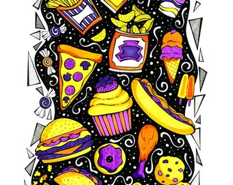 Snack Attack! - Archival Print From Original Drawing