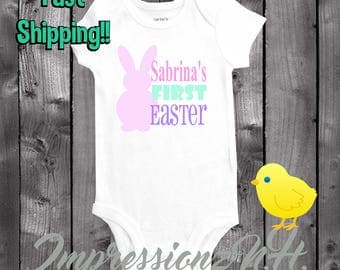 baby's first easter onesie - Cute Personalized baby onesie for Easter