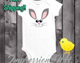 Cute Easter bunny baby onesie,  one-piece bodysuit shirt for Easter