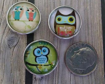 Interchangeable Snap Button Jewelry, Owl's Set of 3, #e-160
