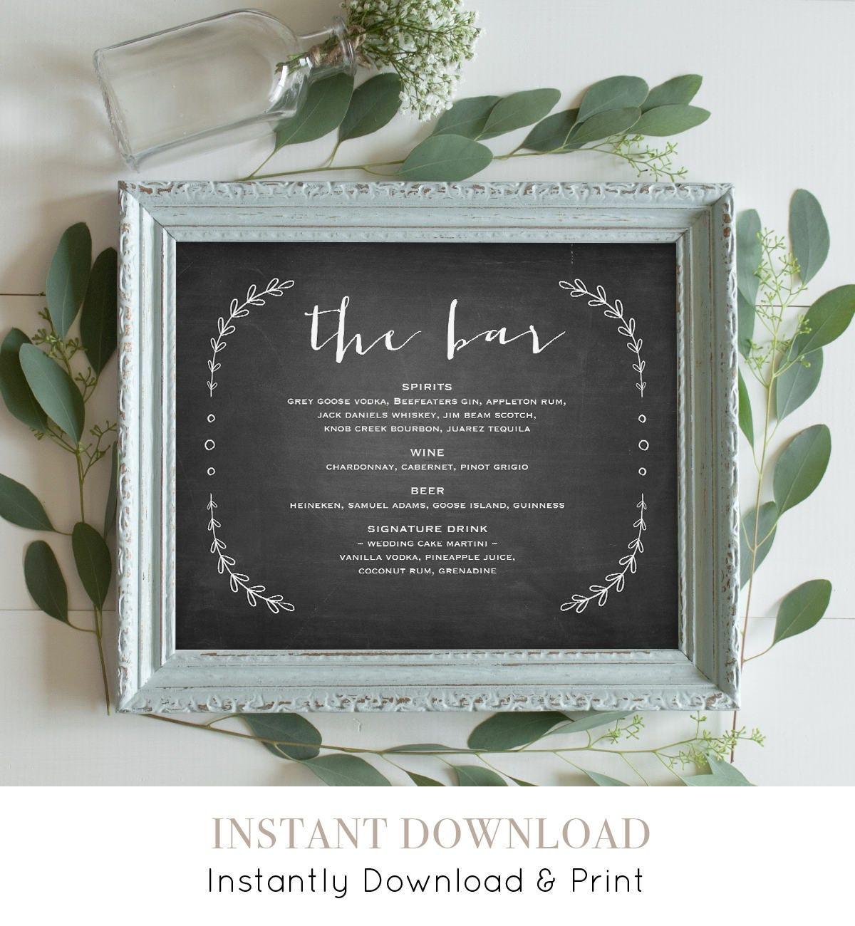 Bar Menu Sign Template Printable Wedding Cocktail Drink Editable Text Chalkboard Rustic Laurels Instant Download VC17