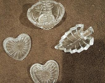 Vintage Hand Cut Crystal Basket, Leaf Shaped Trinket Holder, Two Heart Shaped Trinket Holders