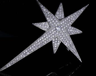 Vintage Micro Pave CZ Falling Star Brooches
