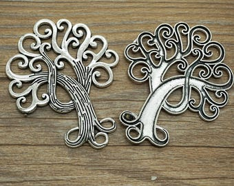 2pcs Antique silver peace tree Pendants for Necklace / accessory DIY 73 mm x 58 mm (507-34)