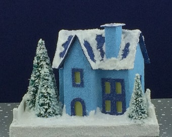 Blue on Blue Putz House Glitter House Christmas Village