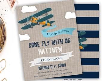 airplane birthday invitation, aviator birthday invitation, vintage airplane birthday invite, rustic birthday, linen, navy blue, 1st 2nd 3rd