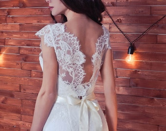 Lace wedding dress Monika with open back  , vintage wedding dresses, modest wedding dresses