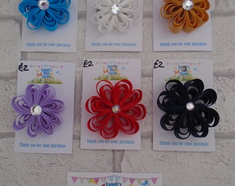 Handmade Loopy flower clip, hair accessory, hair clip ribbon flower loop pretty colour hair accessory custom made any colour sparkle centre