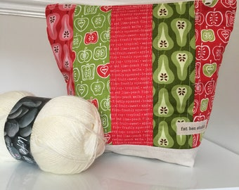 Unique Apples and Pears Project Bag Zipper Pouch Crafting Bag Knitting Crochet Stitching