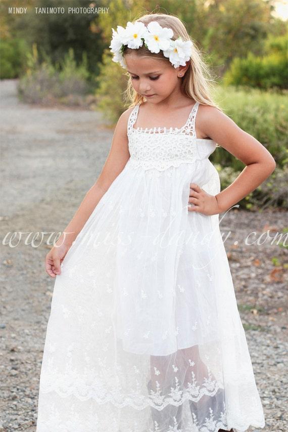 Beach flower girl dress, Bohemian Boho flower girl dress, Ivory / White flower girl dress,Rustic Flower Girl Dress,Country Flower Girl Dress