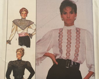 Misses Blouses Simplicity no. 8357 Size 18 1980s Pattern, Ruffles, Lace, Personal Fit