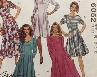 McCalls no.6052 Misses Dresses 1990s Pattern, Two Lengths, Size 8-10-12, Uncut