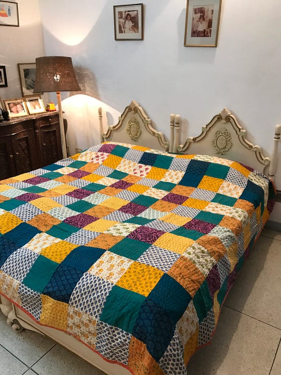 Vibrant Patchwork King Size Quilt 100% cotton Reversible : king size quilts sale - Adamdwight.com
