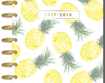 Sale! 2017-2018 Classic Happy Planner - Flamingo - 18-Month Planner/Pineapples Cover/Gold Discs