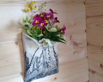 Ceramic wall vase/wall pocket. Original handmade design.