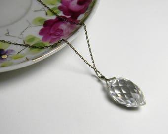 Art Deco Crystal Briolette Necklace - Sterling Silver Victorian Crystal Briolette Necklace
