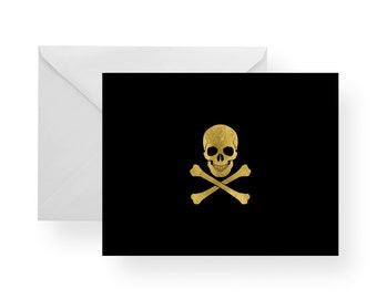 Black Note Cards with Gold Skull and Crossbones (Set), skull stationery, stationery, gold stationery, black note cards