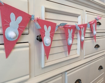 Easter banner, bunny banner, spring banner, bunnies on pink/coral banner