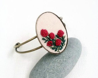 Red roses bracelet Embroidered flower jewelry Rustic Wedding jewelry Bride bracelet Romantic gift for her Woodland jewelry Mother day gift