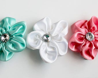 4th of July Girl Hair Clips/4th of July Hair Accessories/ Summer Hair Accessories/Girl Hair Clips/Hair Clip Set/Pink, White, Blue Hair Clips