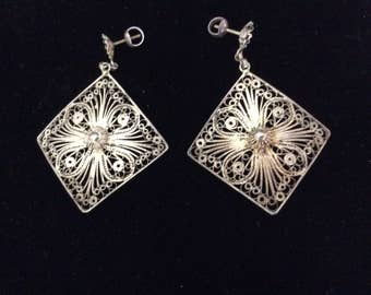 Vintage Art Deco Filigree Earrings, Silver, Pierced