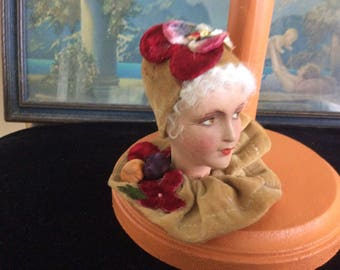 REDUCED! Hat Stand Made with Antique French Composition Doll Head that is Numbered and Marked, Antique Millinery added