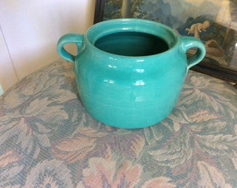 Vintage Pottery Pot, Turquoise, Two Handled, Thick and Heavy, Mint!
