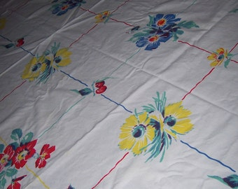 colorful wilendur floral and fruit vintage tablecloth