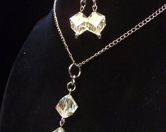 Champagne Ice Pendant and Earrings