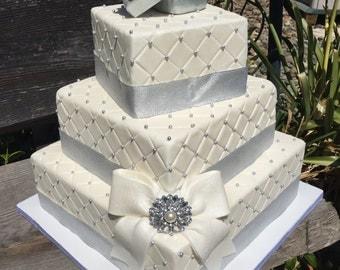 Square faux/fake gift box wedding cake