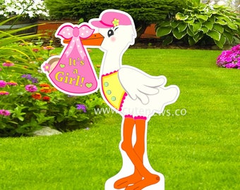 It's a Girl Stork Sign, Baby Announcement Yard Sign, Stork Yard Sign,  Baby shower Stork Decoration, Welcome New Baby Girl  (4 ft tall)