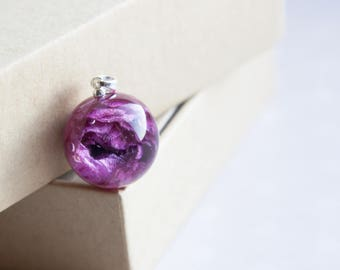 real rose, rose resin, epoxy rose, rose ball,Rose herbarium pendant, Flower Jewelry real,rose resin sphere,Real pink rose,pink rose necklace