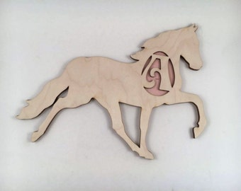 Horse Decoration, Monogrammed Horse, Wooden Name, Horse Wall Decor, Wood  Wall Art