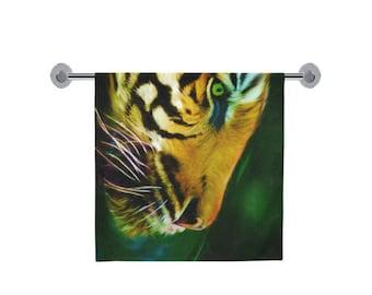 "Tiger bath towel, 30"" x 56"" bath towel, animal printed towel, wildlife towel, printed towel, international free shipping, artist designed"