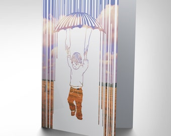 Birthday Card - Child Children Kids Umbrella Rain Hands Blank Card - CP2756