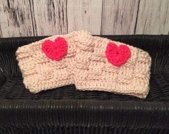 Valentine's Day boot cuffs, boot cuffs for ladies, Valentine's leg warmers, basketweave boot cuffs, heart boot cuffs