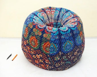 Handmade Printed Cotton Slipcover And Insert Floral Bean Bag Chair Home Decor Round Bohemian Decorative