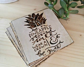 Rustic Wood Burned Canadian Pine Coasters | Be A Pineapple
