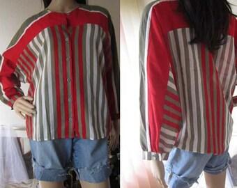 Vintage 80s blouse oversize blouse stripes Basel S