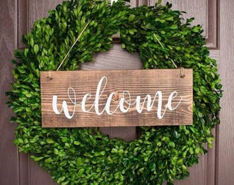 Welcome Sign For Front Door - Wreath Not Included -Outdoor Sign - Wood Sign - Home Decor - Front Yard Sign - Brown Sign - Wreath Sign