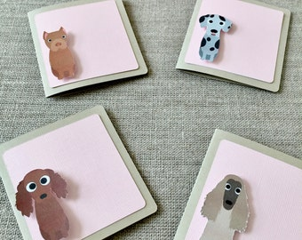 50% OFF CLEARANCE SALE !!!  Set of 4 Sitting Dog Mini Blank Cards with 4 Envelops - Blank Cards - Greeting Card (was 4.20)