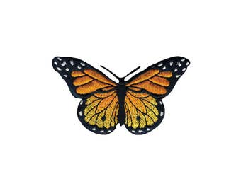 Monarch Butterfly Iron On Applique, Butterfly Iron On Patch, Butterfly Applique, Kids Patch, Embroidered Patch
