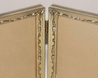 Gold plated folding frame,4 x 6 photo frame,gold picture frame,art deco, ornate gold frame,table top gold frame,glass front,felt back,hinged