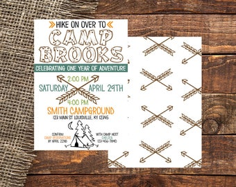 CAMP COLOR | Colorful Camp Out Invitation | Camp Out Invite | Colorful Camp Out Invite | Camp Out Birthday Invitation | Camp Out Party