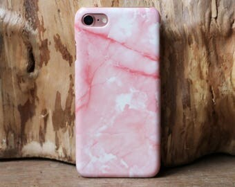 Pink Marble Case for iPhone 6/6S + 6 PLUS & 7 | PC Marble Pink Cover | iPhone Marble Pattern Case | White + Pink Stone Cover