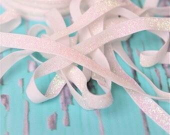 3/8 white glitter Elastic, glitter foe sparkle elastic by the yard, fold over elastic, foldover elastic glitter headband, wholesale elastic