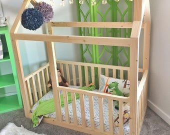 Made in US Toddler house bed frame + rails + chimney