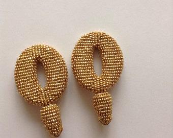 O Beaded Earrings  Earrings in the style of Oscar De La Renta  long tassle clip on earrings
